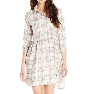 Volcom Flannel Shirt Dress White Gray & Pink